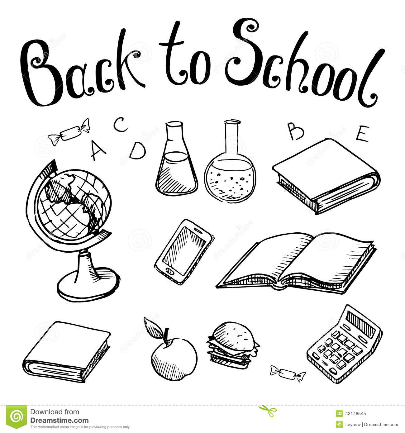 Back To School School Subjects On On A White Background