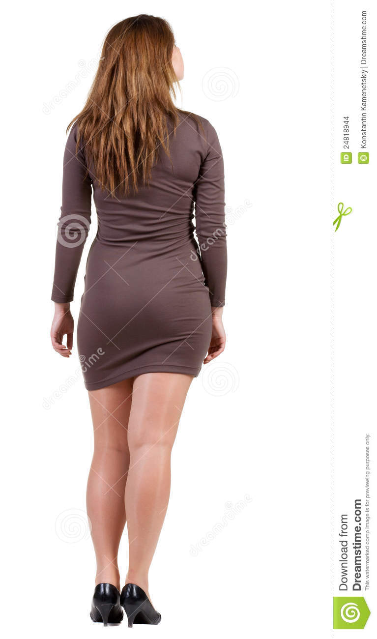Back View Of Standing Beautiful Woman
