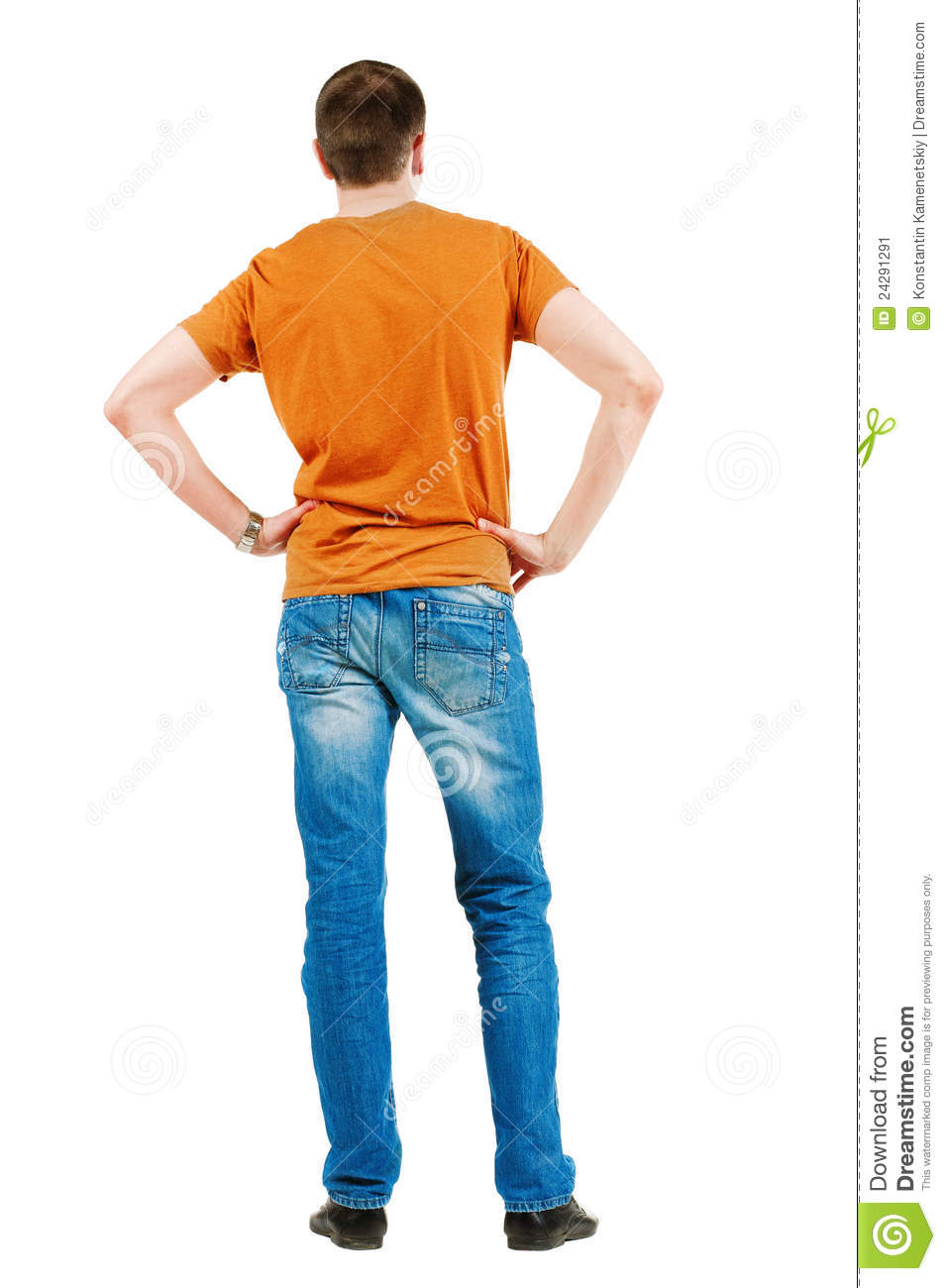 Back View Of Young Man In Orange T Shirt Guy Looks At Wall Rear View Isolated Over White Background