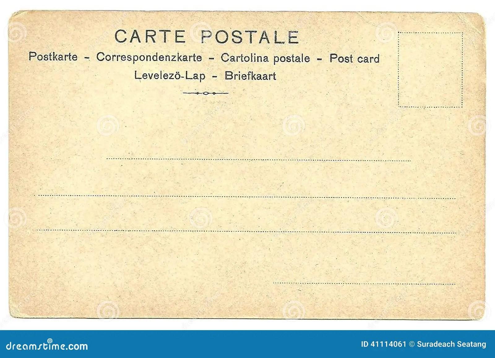 Back Of Vintage Blank Postcard Stock Image