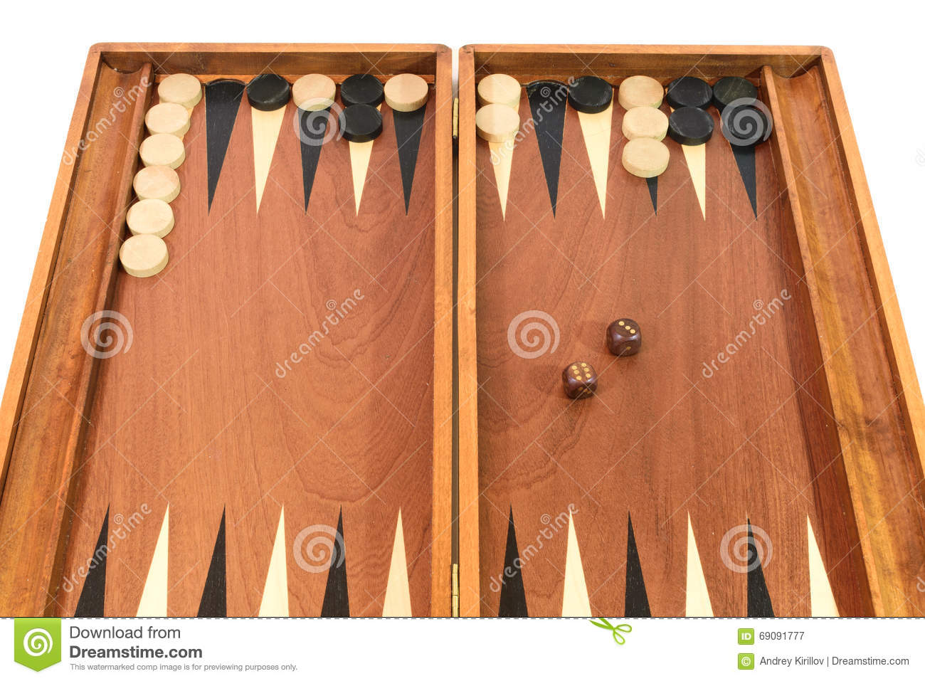 Backgammon Game With Dice Board And Chips Stock Image