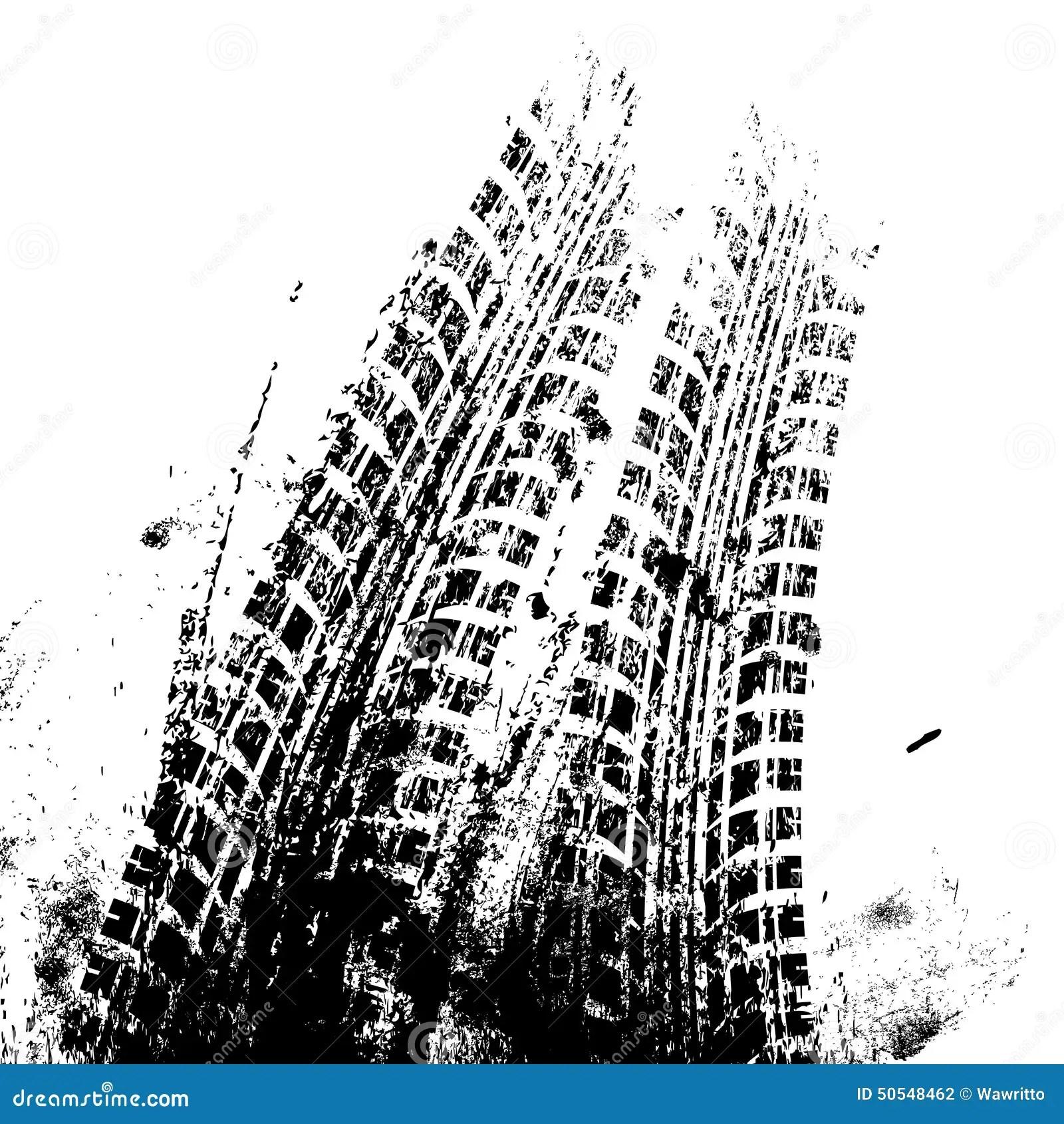 Grunge Tire Track Gold Background Vector Illustration