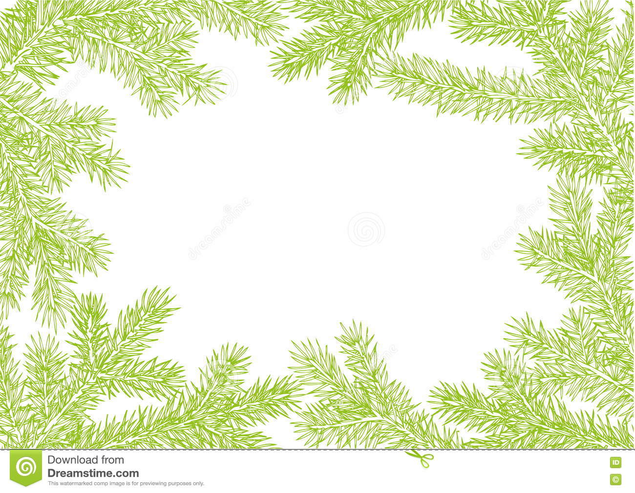 Background Made Of Fir Branches Vector Frame From