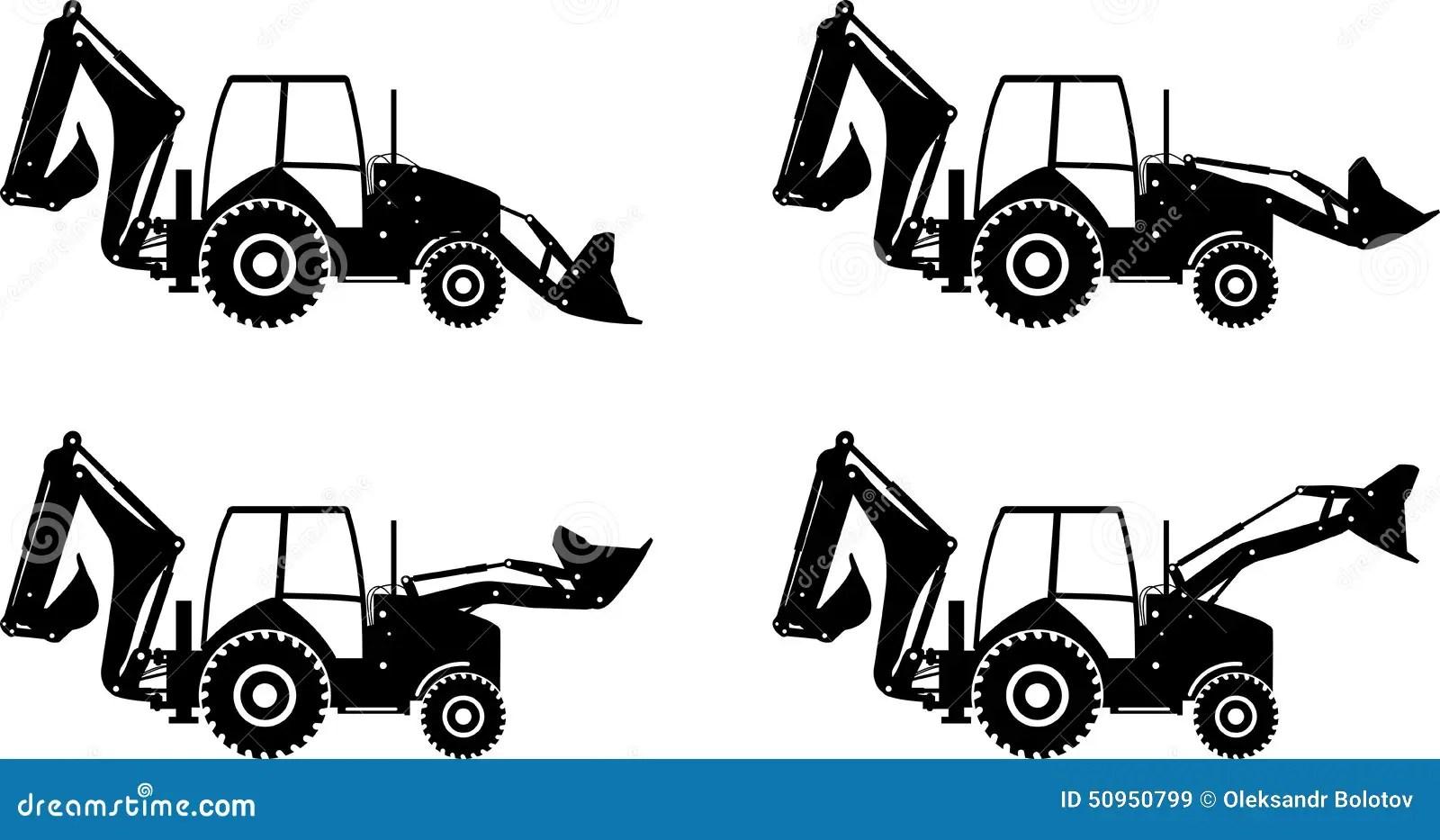 Backhoe Loaders Heavy Construction Machines Vector Illustration Stock Illustration