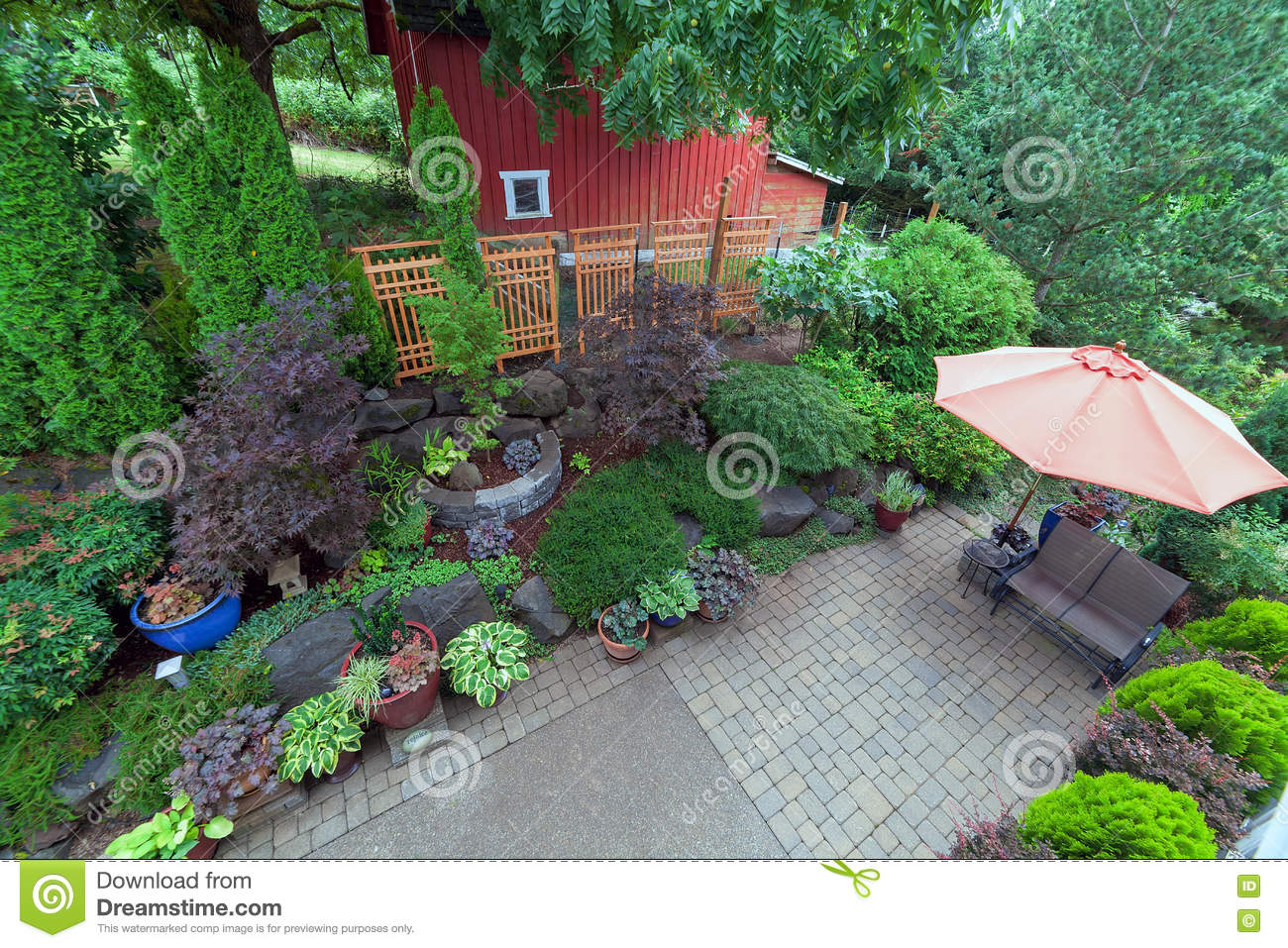 Backyard Patio Landscaping With Red Barn Overview Stock