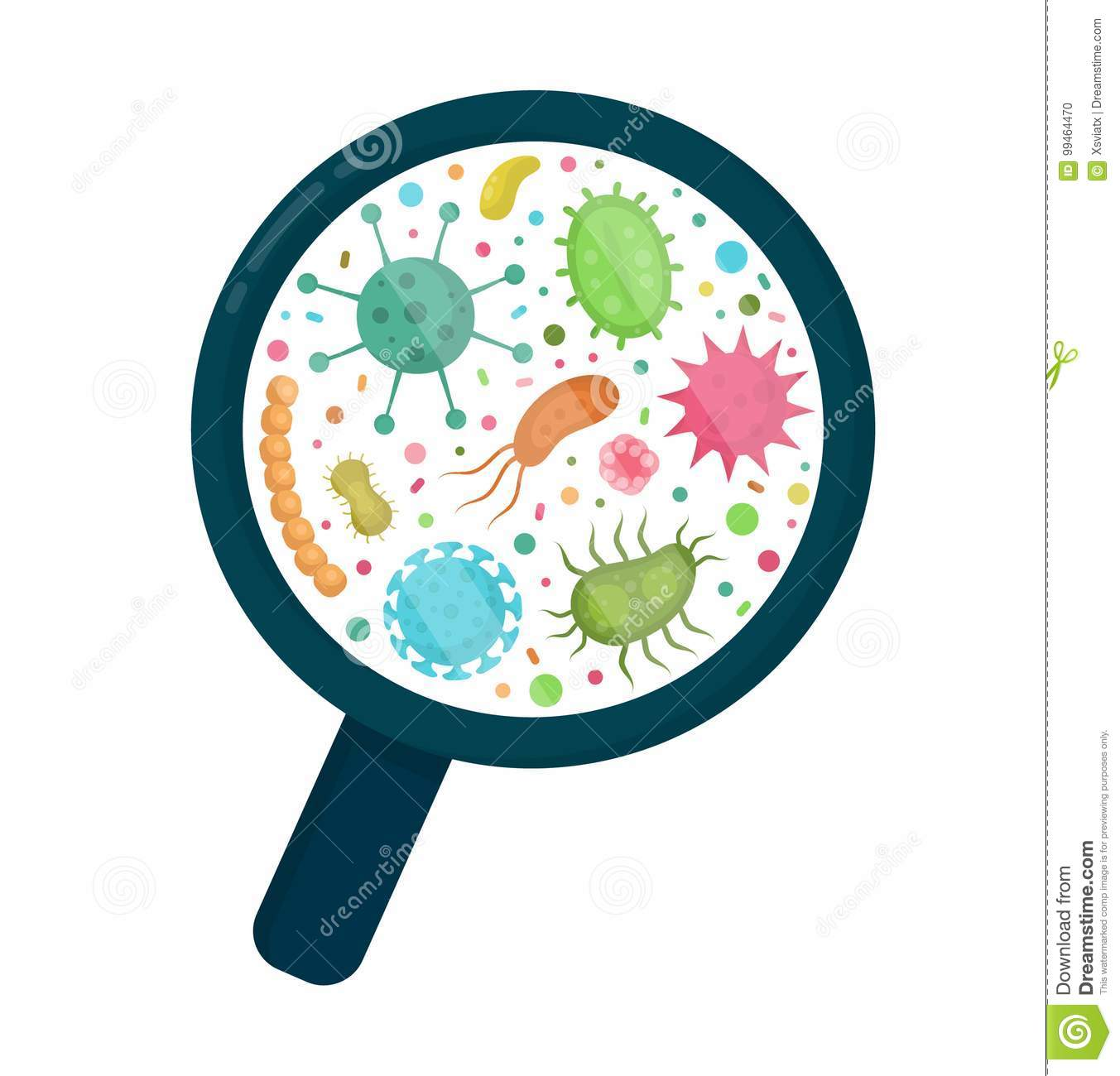 Bacterial Microorganism In A Circle Stock Vector