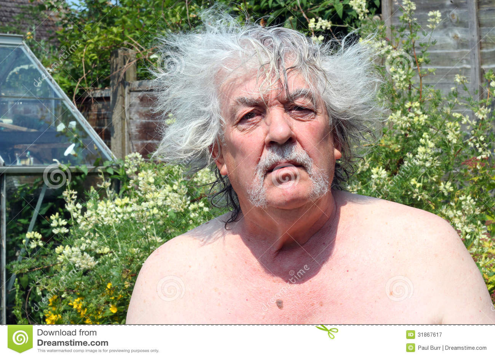 Bad Hair Day A Senior Man Stock Image