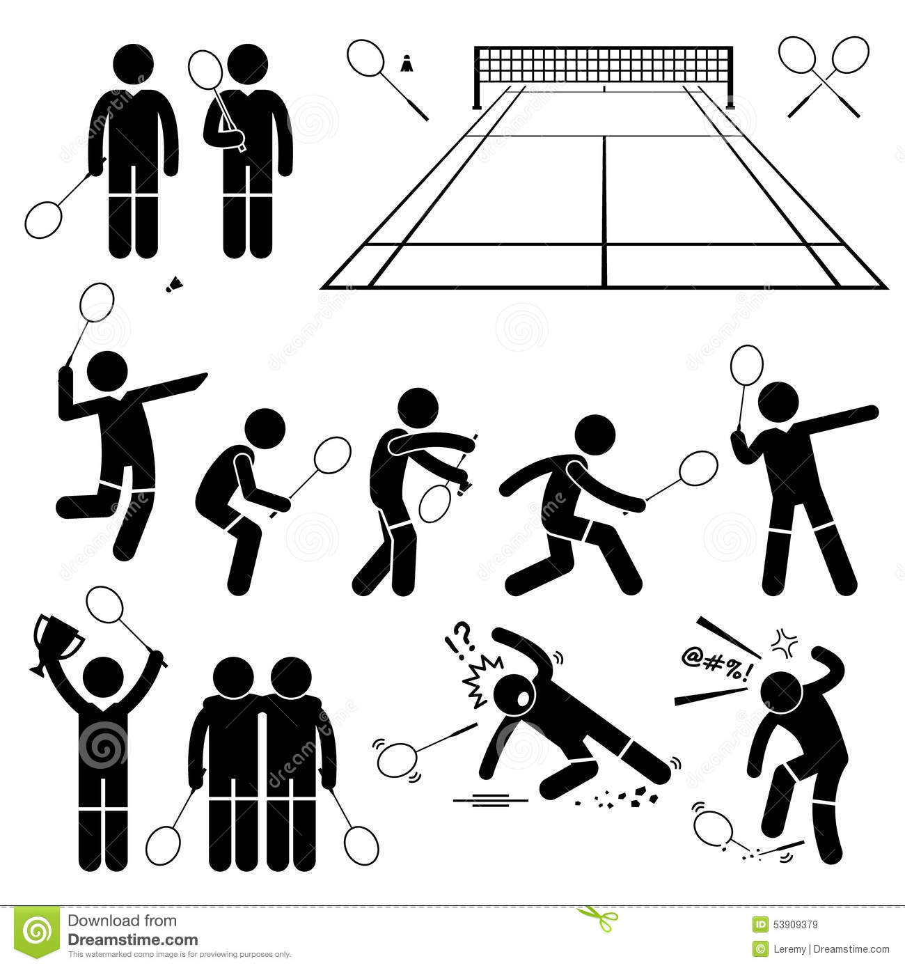Badminton Player Actions Poses Cliparts Stock Vector