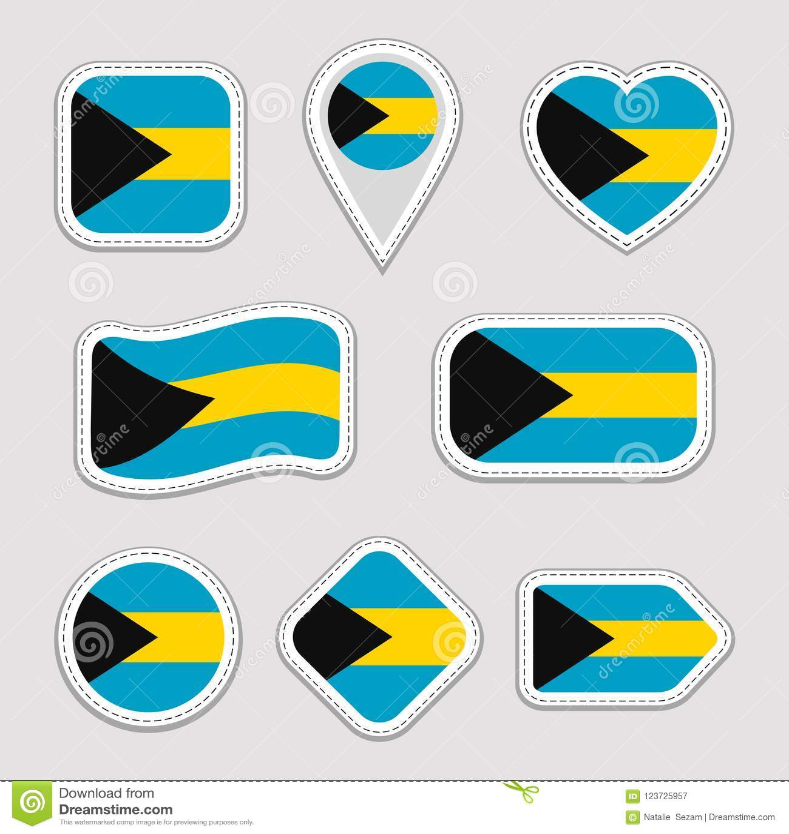 The Bahamas Flag Vector Set Bahamian Flags Stickers