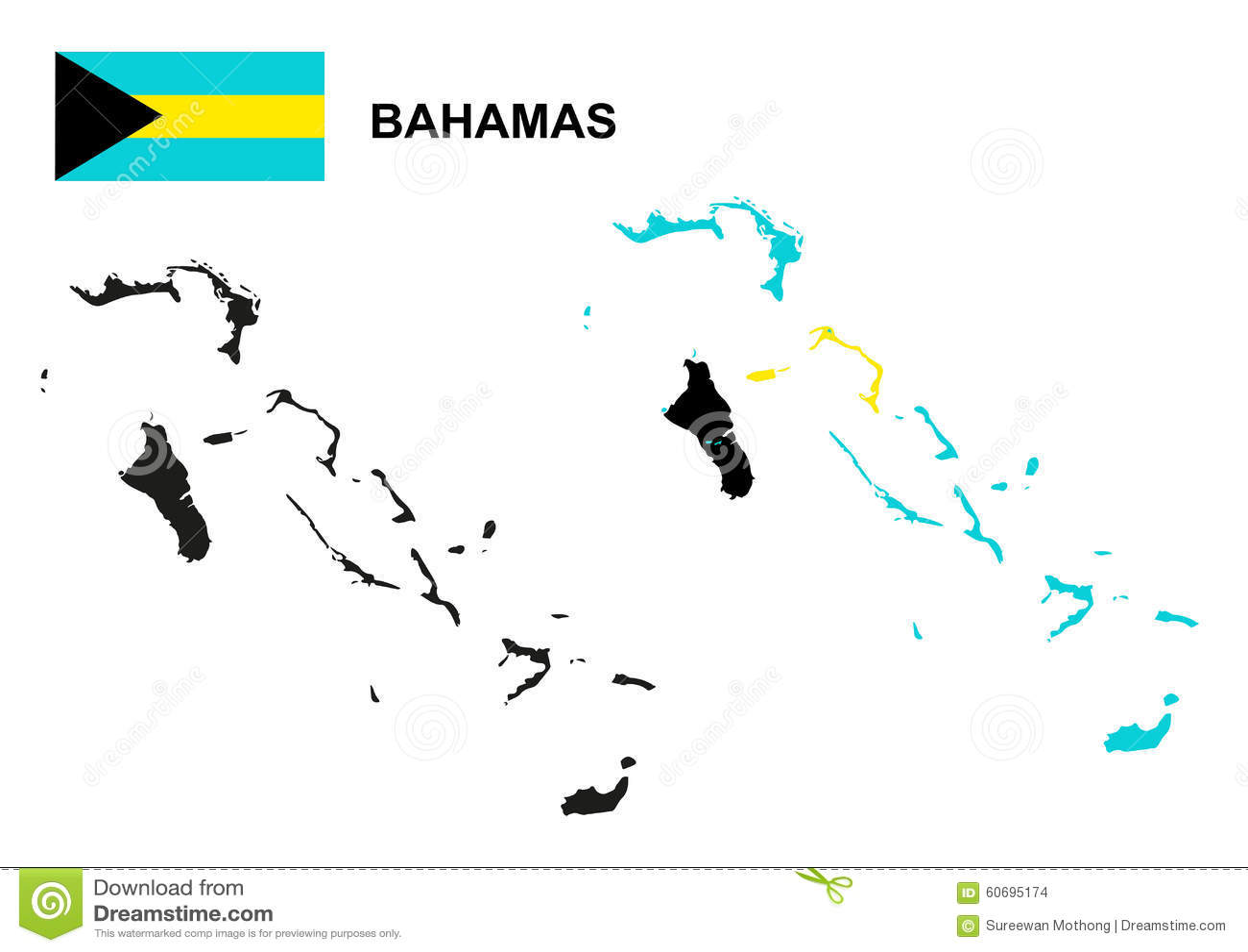 Bahamas Map Vector Bahamas Flag Vector Isolated Bahamas