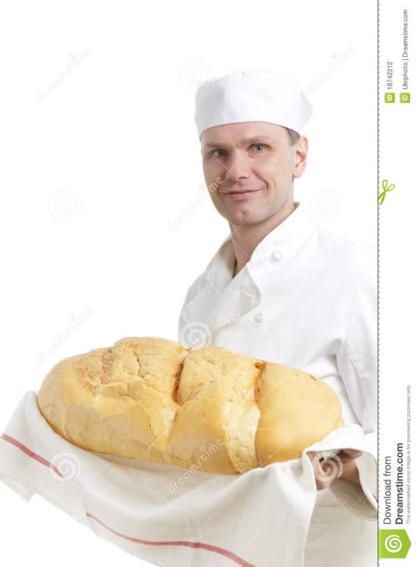 Baker with bread stock photo. Image of white, standing ...
