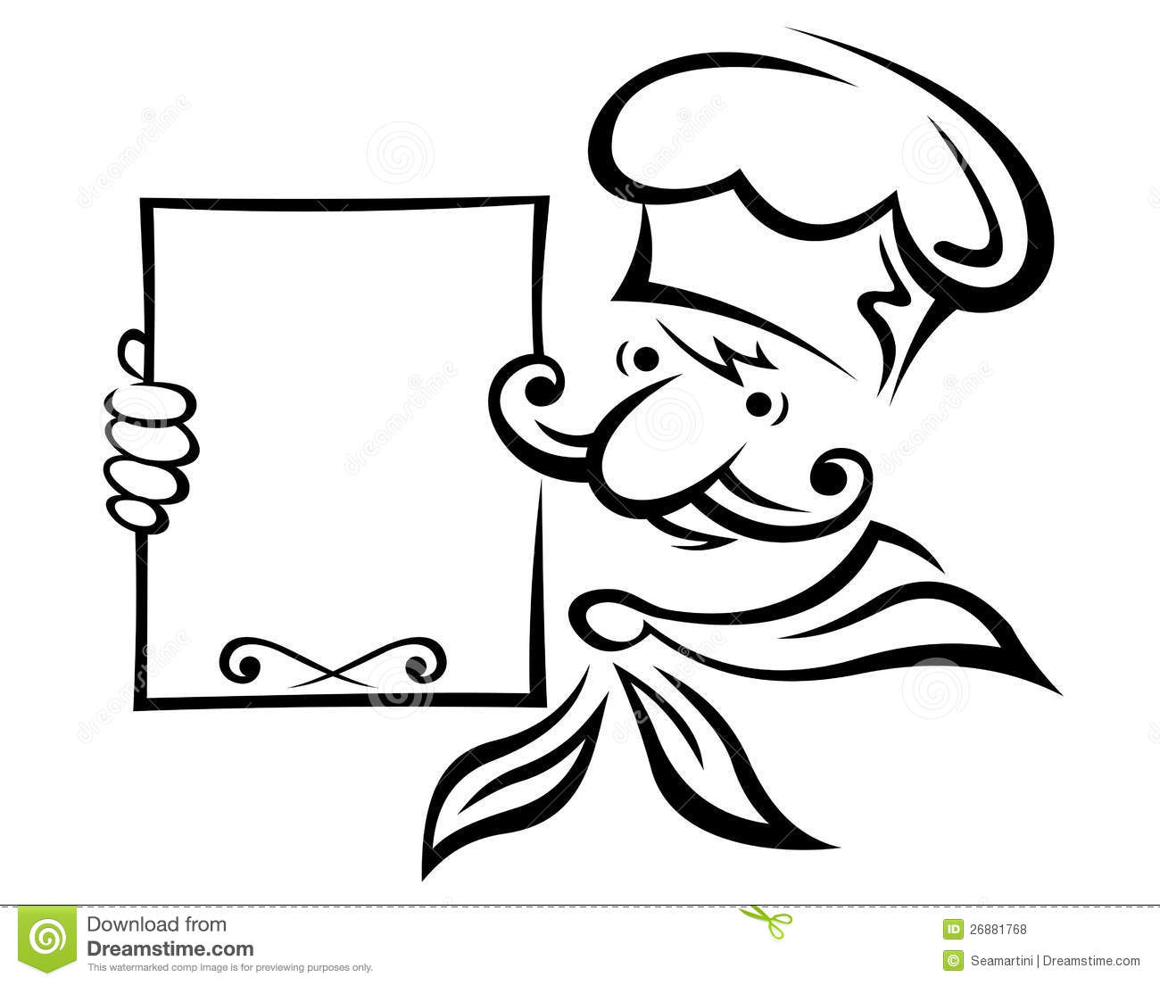 Baker With Menu Board Stock Vector Illustration Of Cook