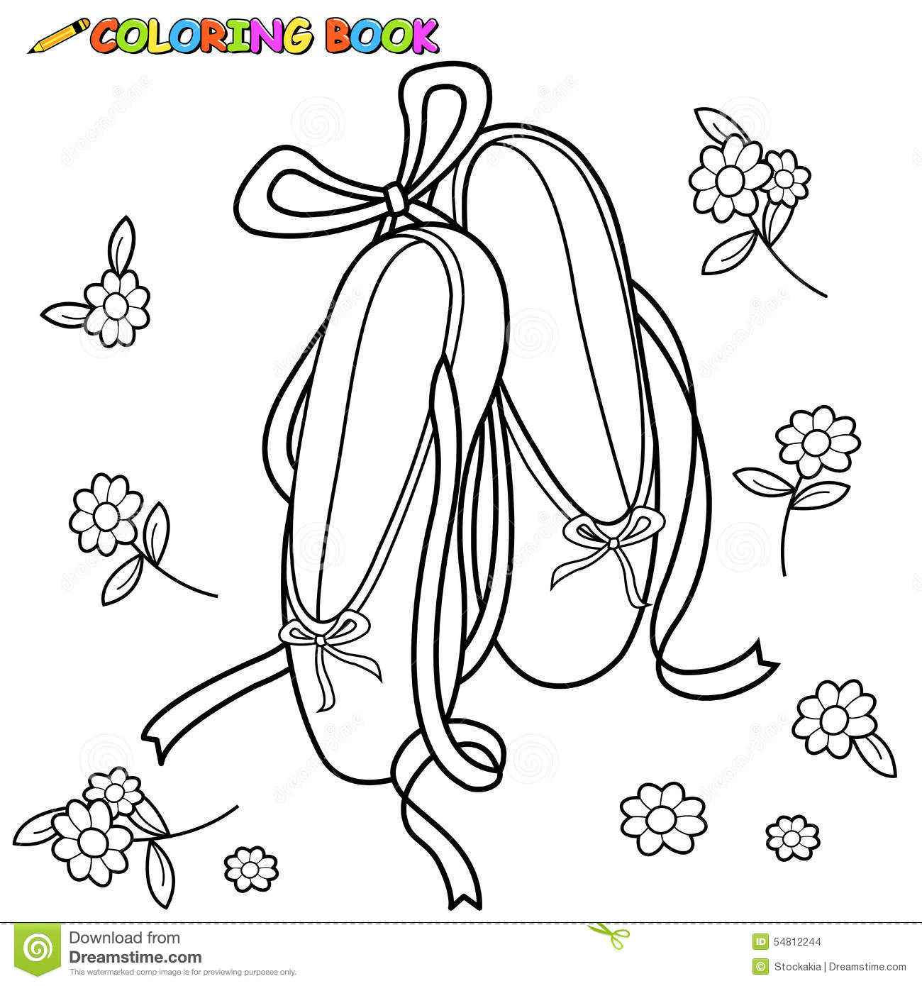 Ballet Shoes Coloring Page Stock Vector