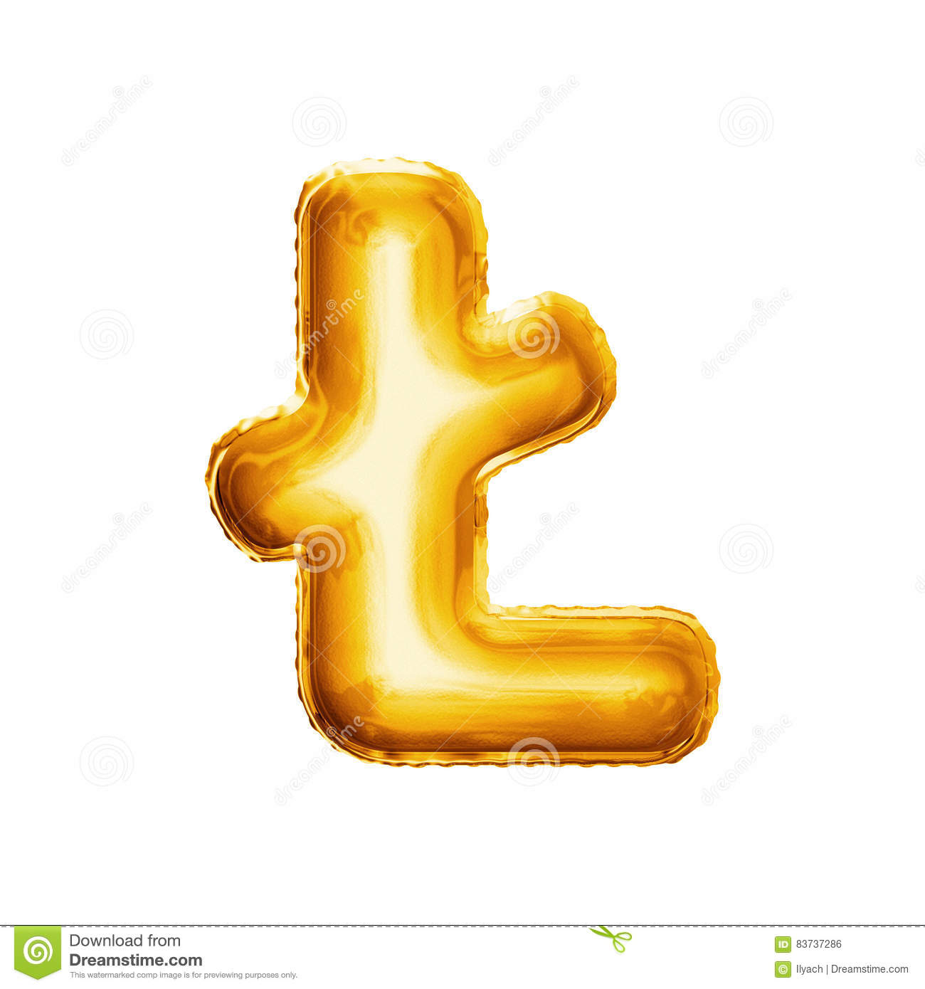 Balloon Letter L With Stroke 3d Golden Foil Realistic