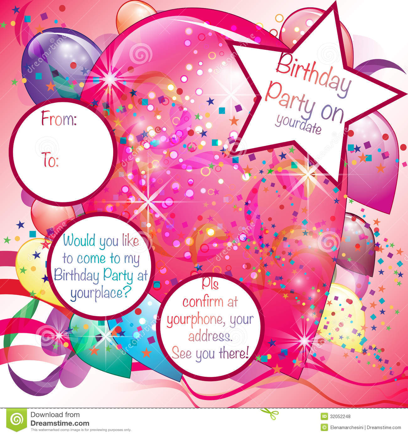 balloons party invitation card for girl stock vector illustration of holiday celebration 32052248