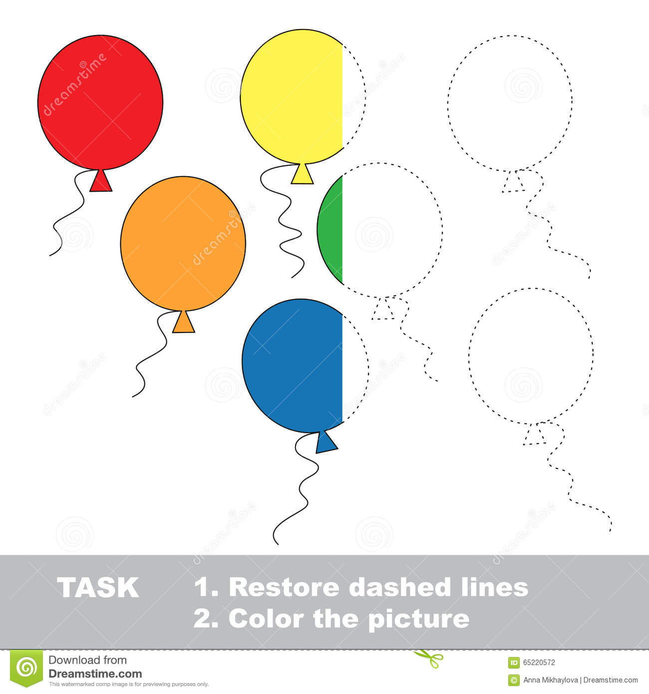 Balloons To Be Colored Vector Trace Game Stock Vector