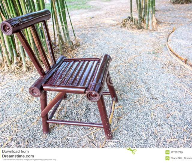 Bamboo Chair Paint Brown Color In The Garden