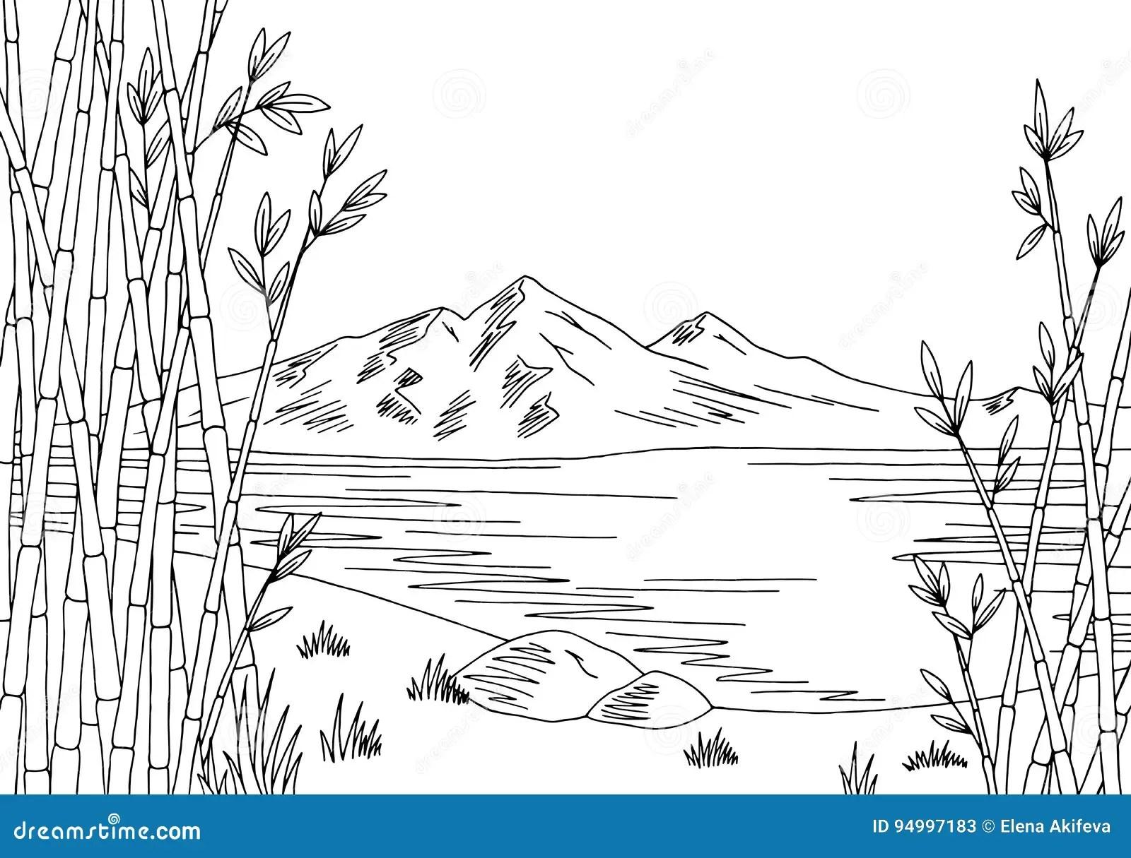 Mountain Lake Graphic Art Black White Landscape