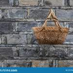 Bamboo Woven Basket Hanging On The Wall Stock Photo Image Of Holding Pattern 127174326