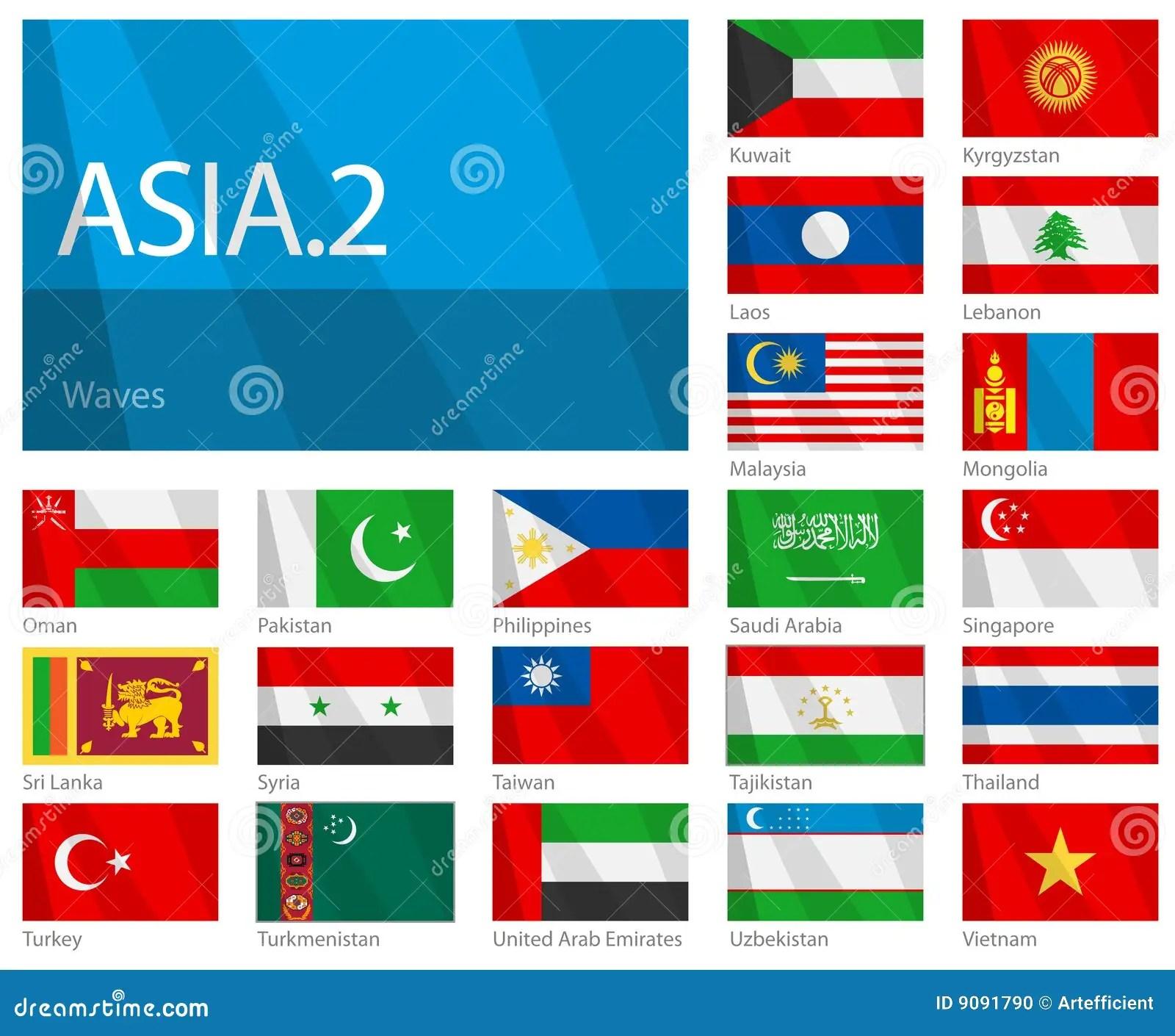 Bandeiras De Ondulacao De Paises Asiaticos