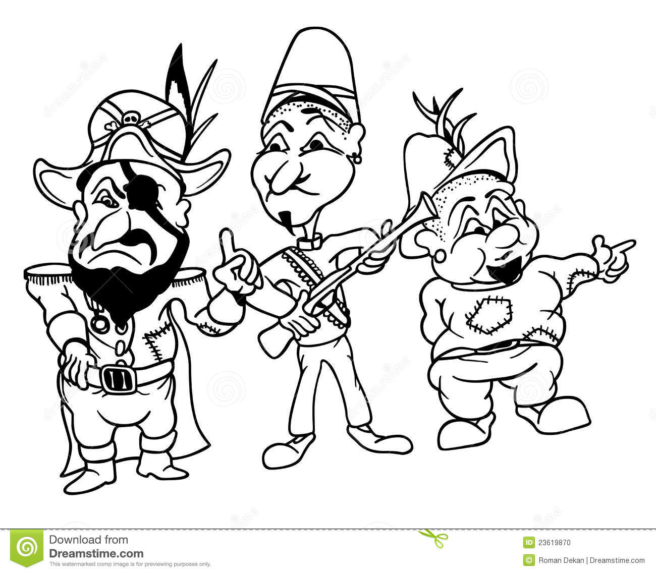 Cartoon Robbers Behind Bush Royalty Free Illustration