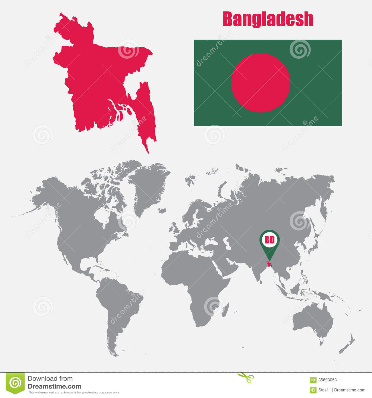 Bangladesh Map On A World Map With Flag And Map Pointer Vector Illustration Stock Illustration Illustration Of International Location 85693053