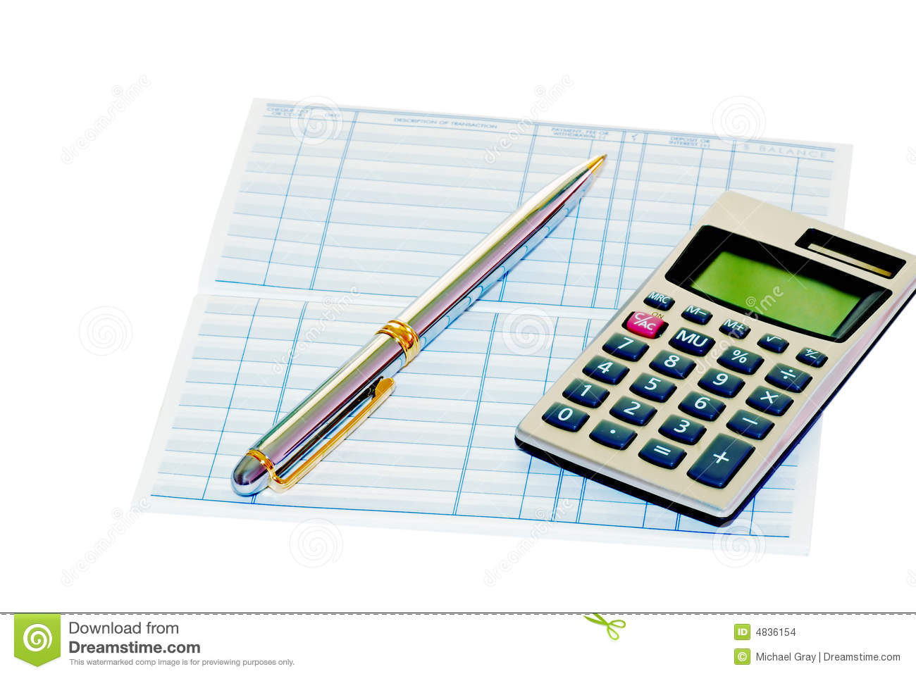 Bank Book With A Pen And Calculator Stock Images