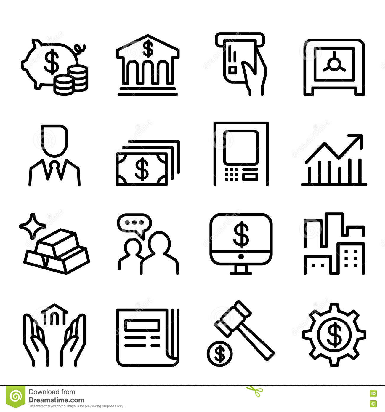 Bank Amp Financial Icon Set In Thin Line Style Royalty Free