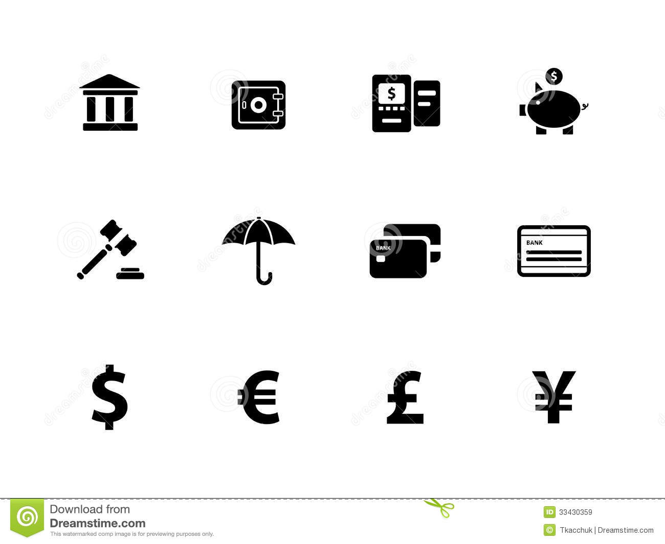 Banking Icons On White Background Royalty Free Stock