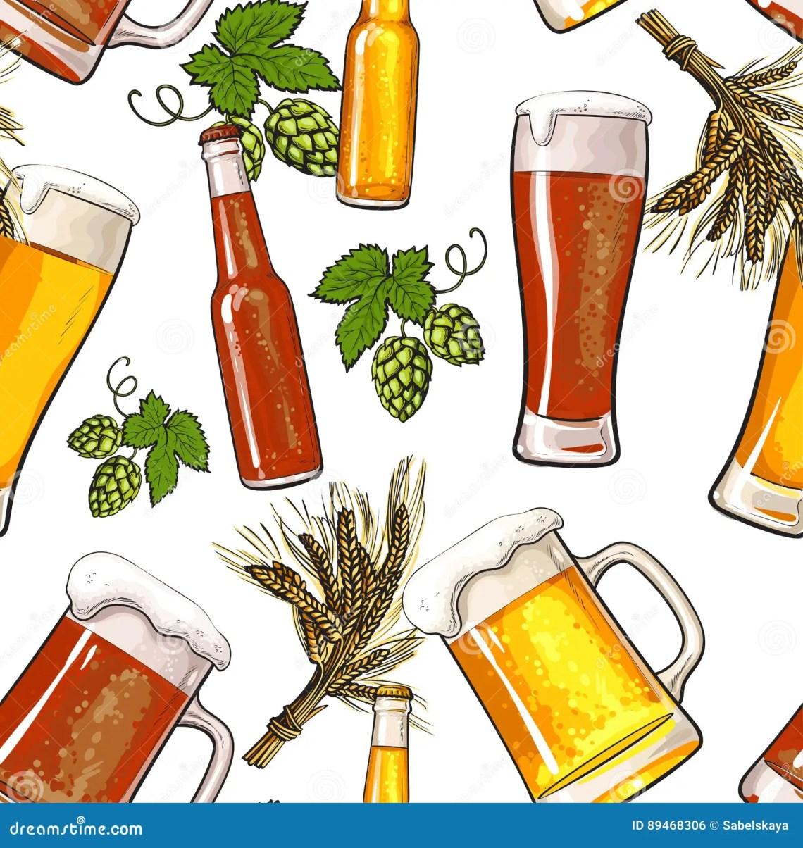 Download Banner Of Beer Bottle, Mug And Glass, Malt And Hop Stock ...