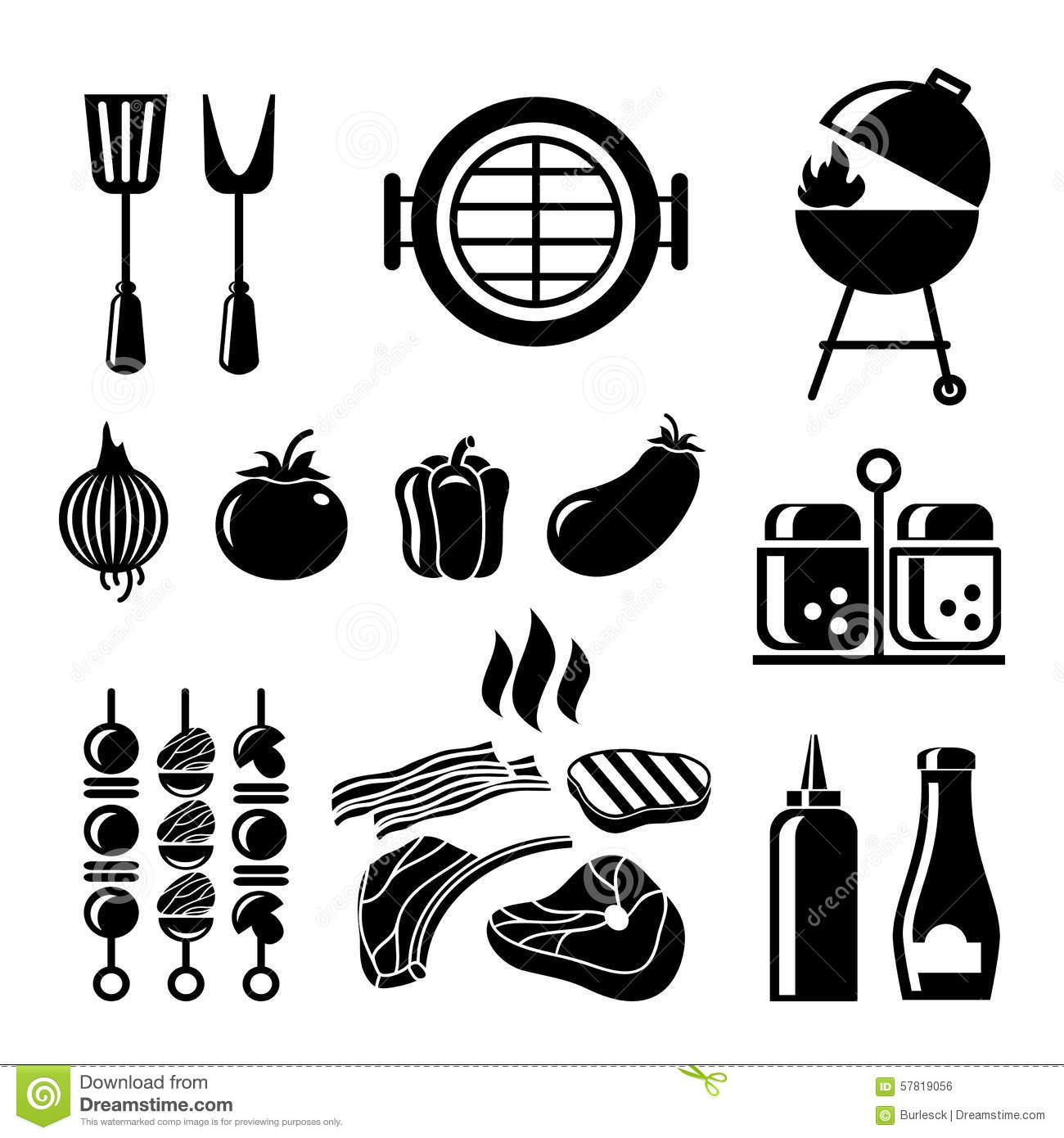 Barbecue Icon Set Stock Vector Illustration Of Grilled