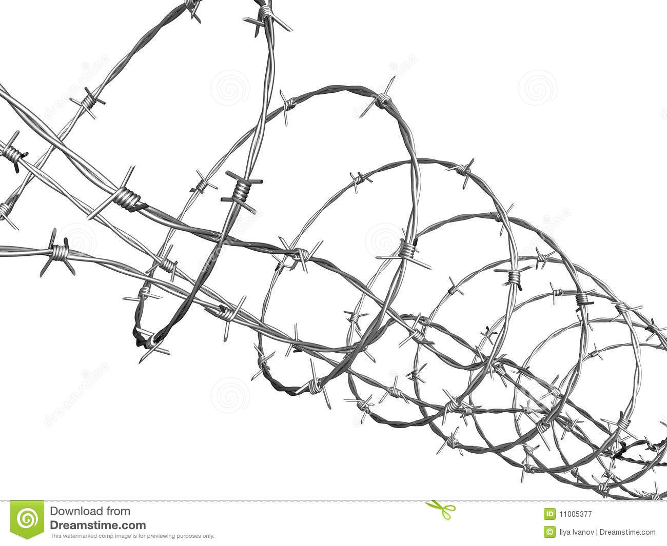 Barbed Wire Curled In Spiral Stock Illustration