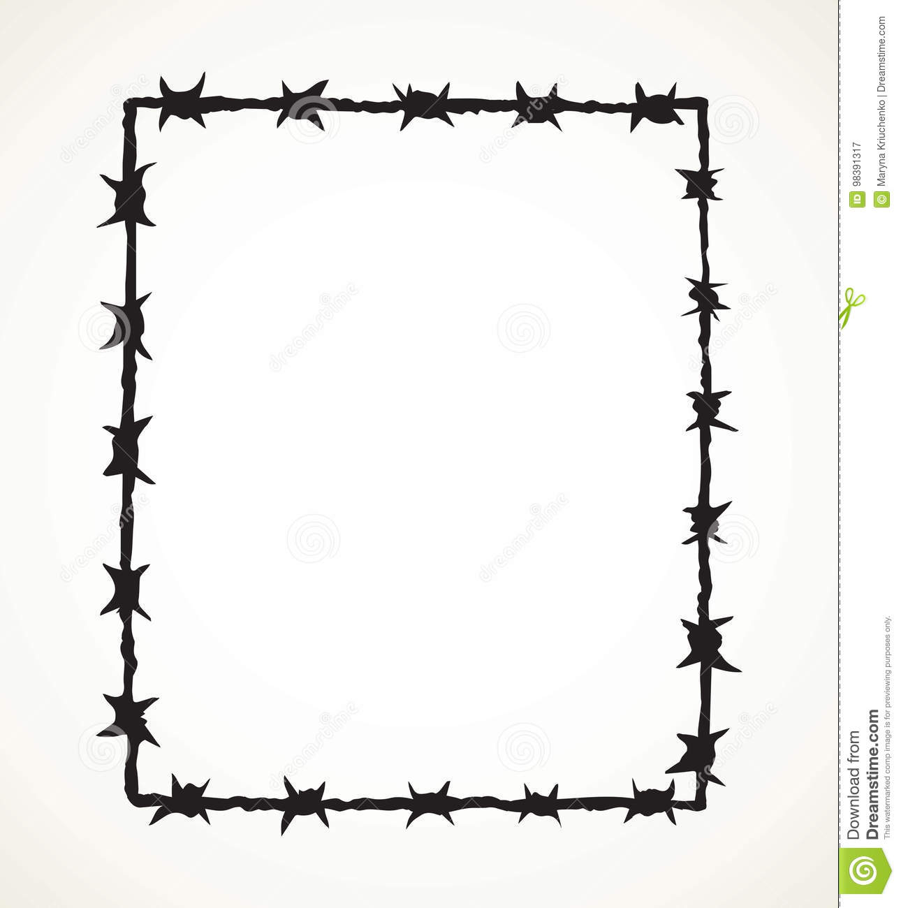 Barbed Wire Vector Drawing Stock Vector