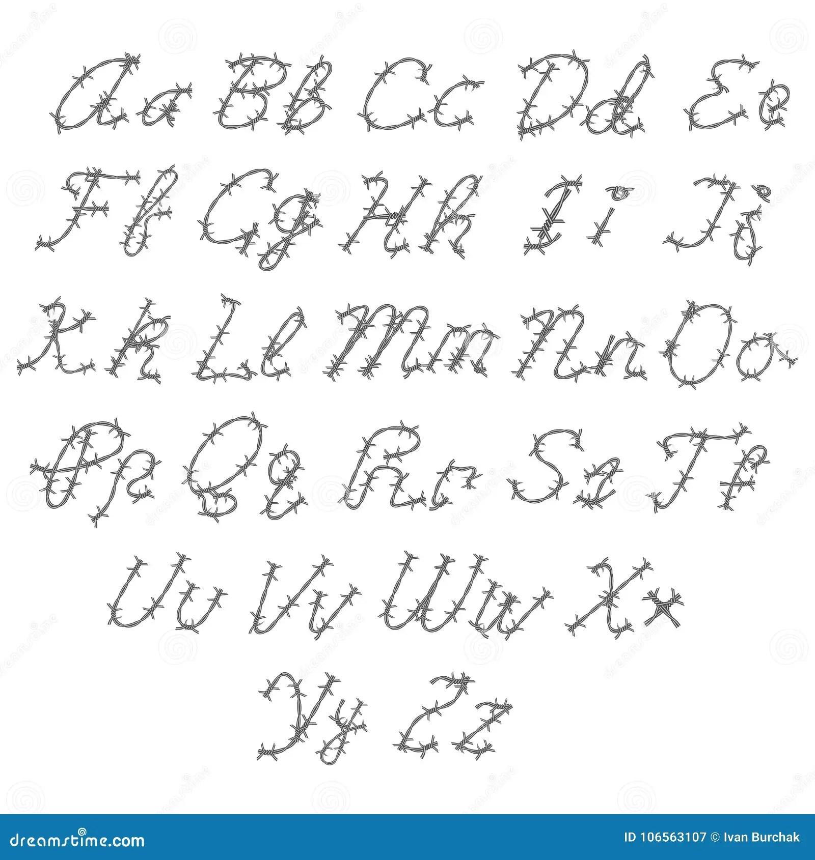 Barbed Wire Vector Font Type Alphabet Stock Vector