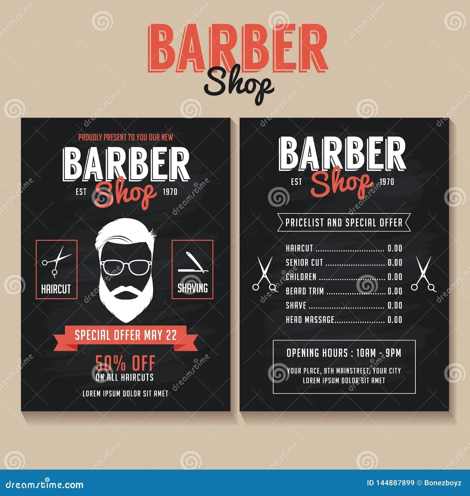 https www dreamstime com barber shop flyer template price list special offer black barber shop flyer price list special offer image144887899