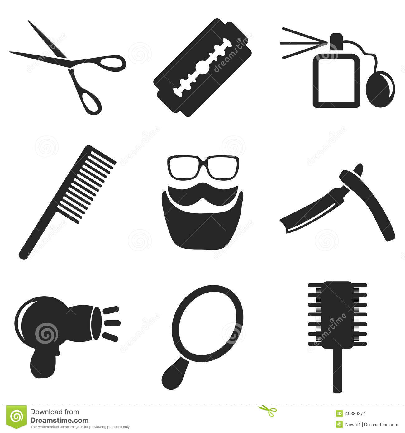 Barber Web And Mobile Icons Collections Vector Stock