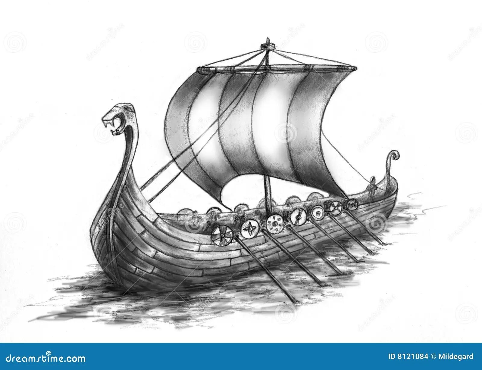 Barca 2 Del Vichingo Illustrazione Di Stock Illustrazione