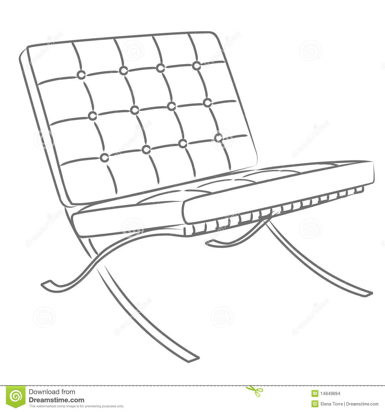 Barcelona Chair Vector Stock Vector Image Of Detail