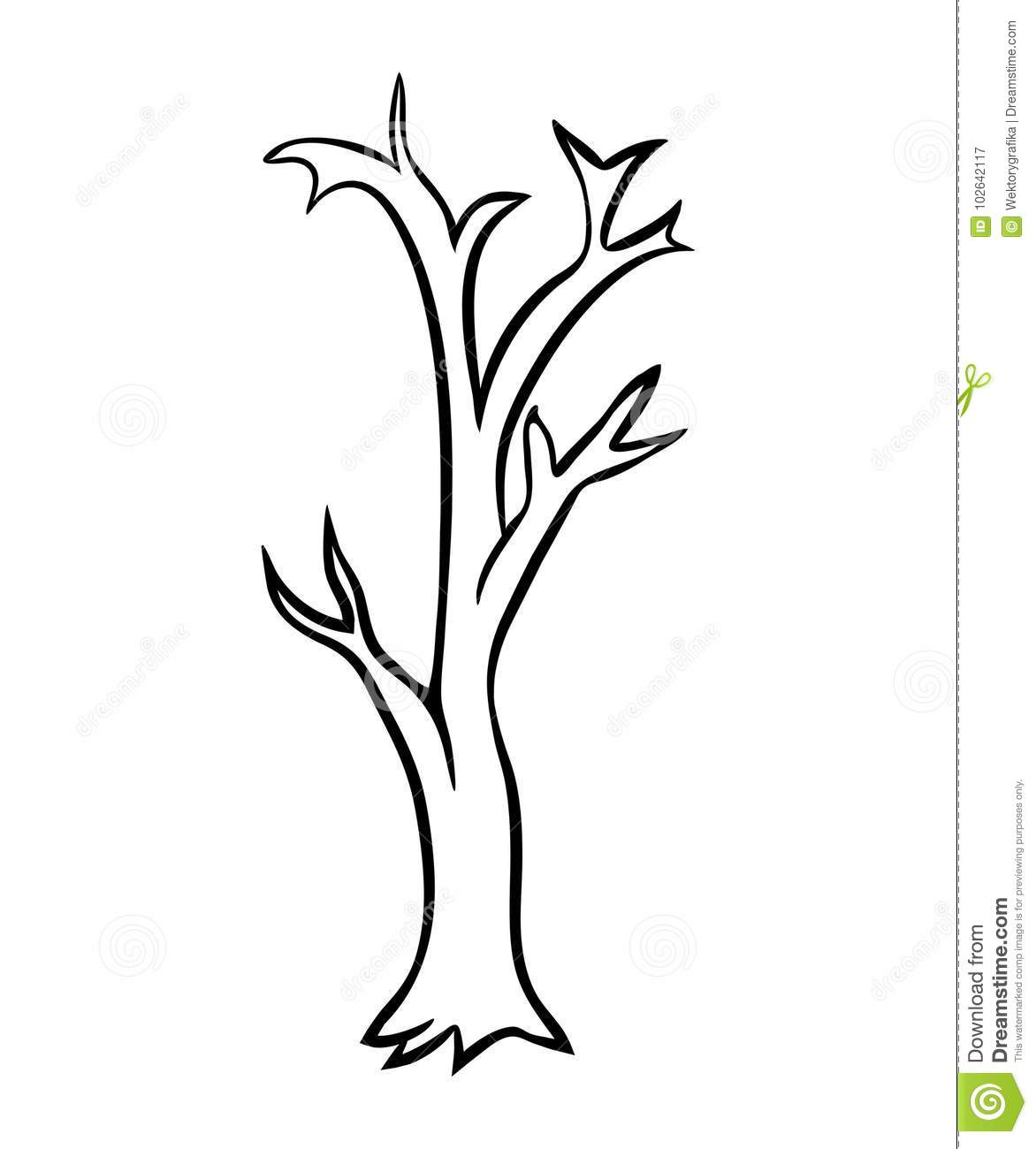 Bare Tree Cartoon Outline Vector Design Isolated On White