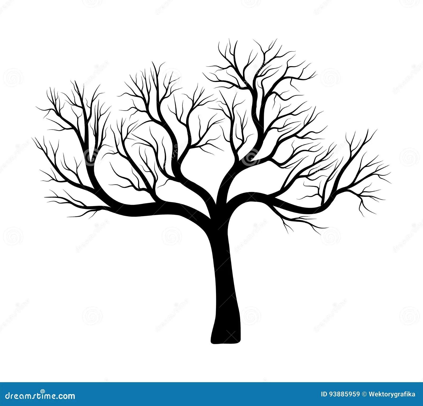 Black Silhouette Bare Tree Vector Illustration Cartoon