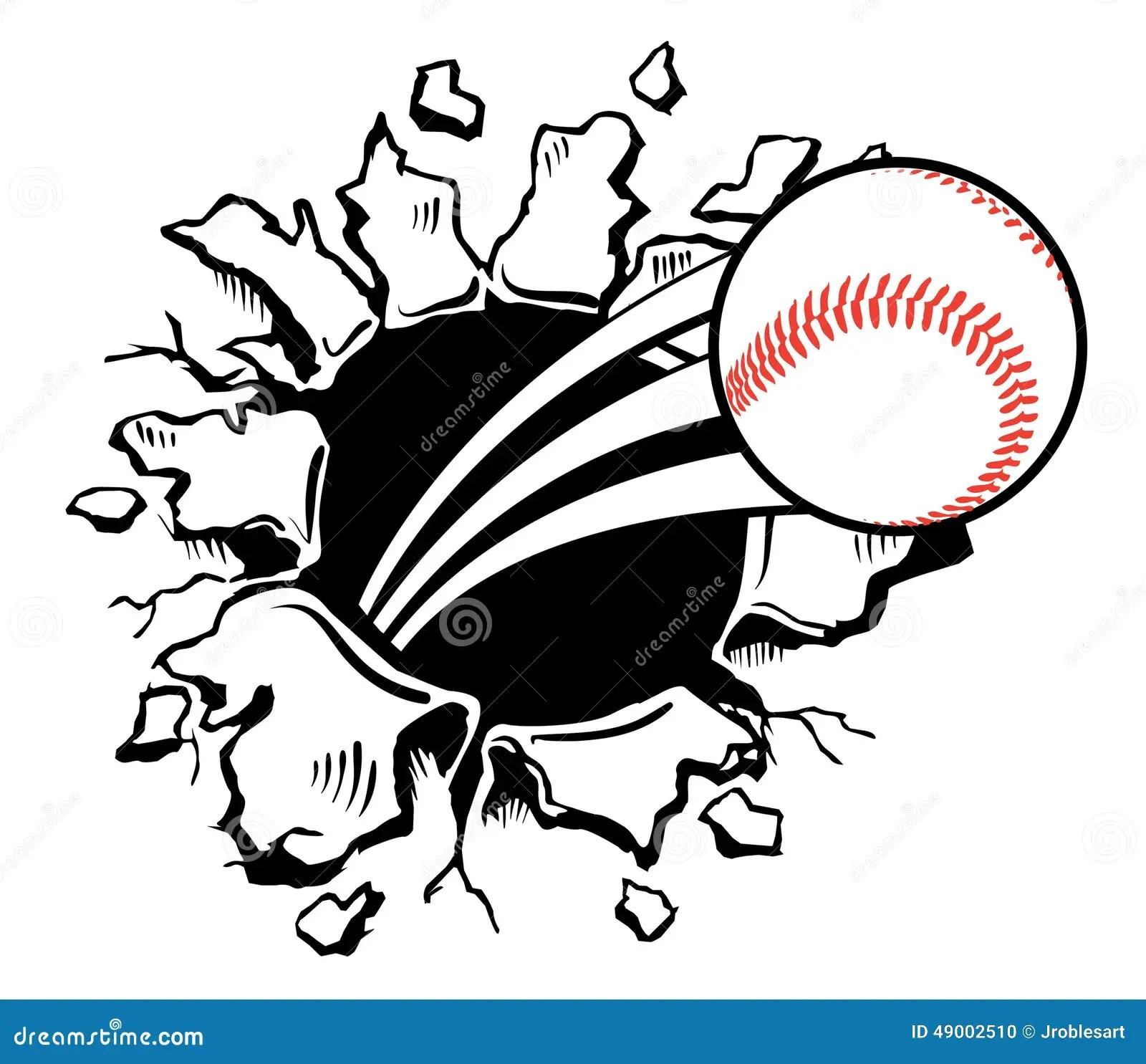 Baseball Busting Wall Stock Vector