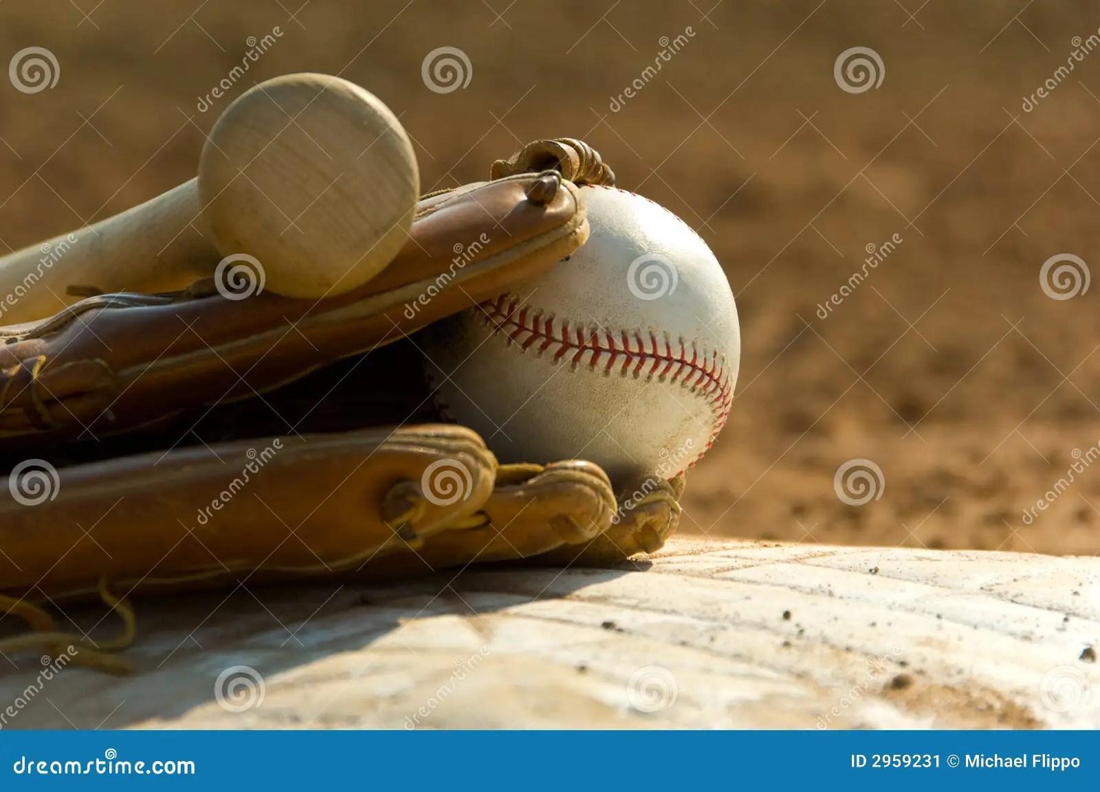 Baseball Equipment On Base Stock Image Image 2959231