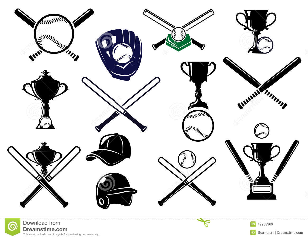 Baseball Equipments Set Stock Vector