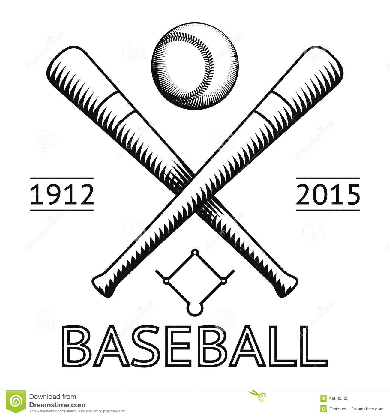 Baseball Logo Symbol Bat Ball Game Field Icon Stock Vector