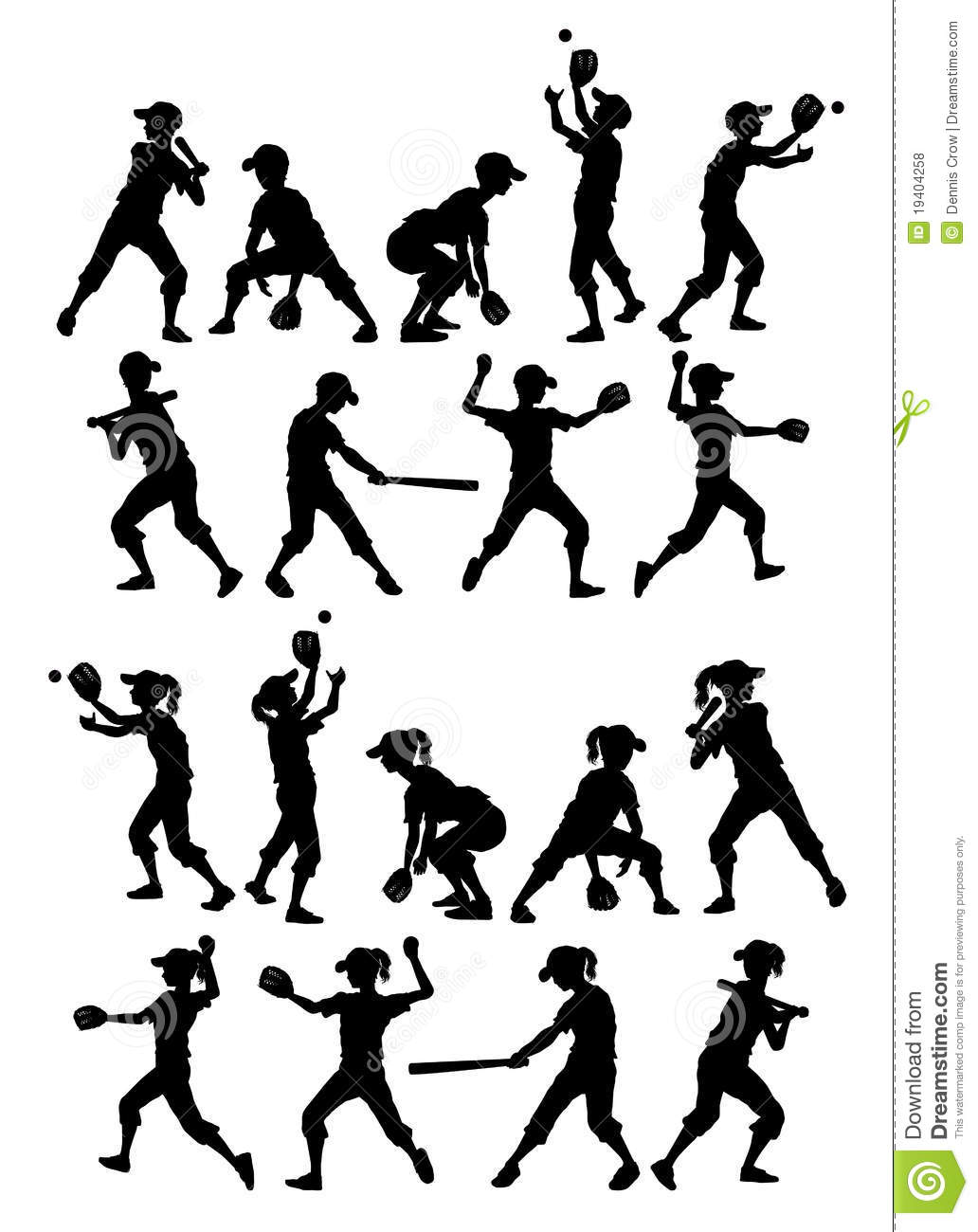 Baseball Softball Silhouettes Kids Boys And Girls Royalty