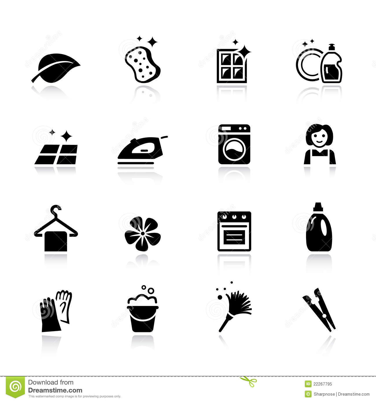 Cleaning Icons Cartoon Vector