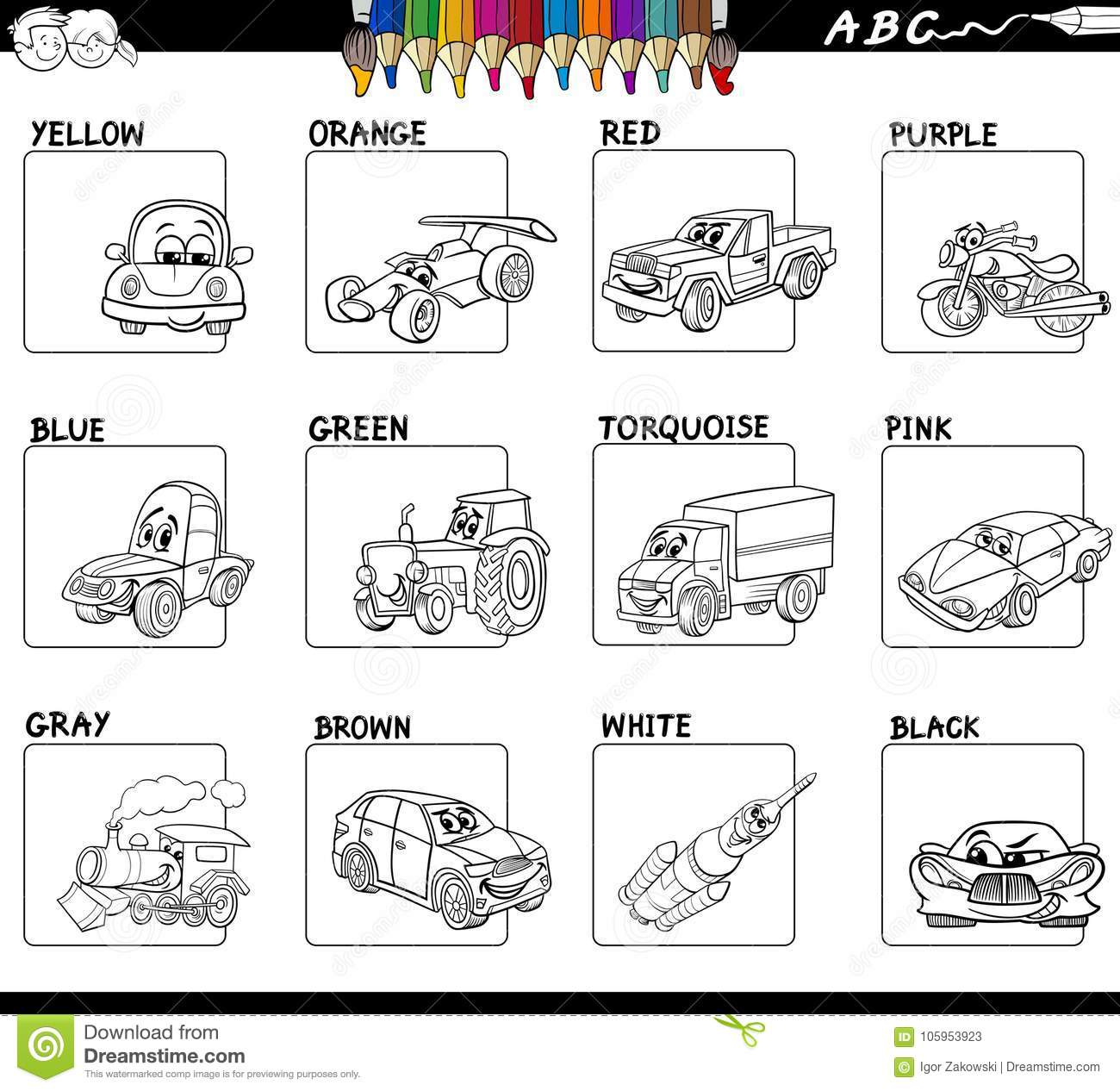 Basic Colors Activity Worksheet For Coloring Stock Vector