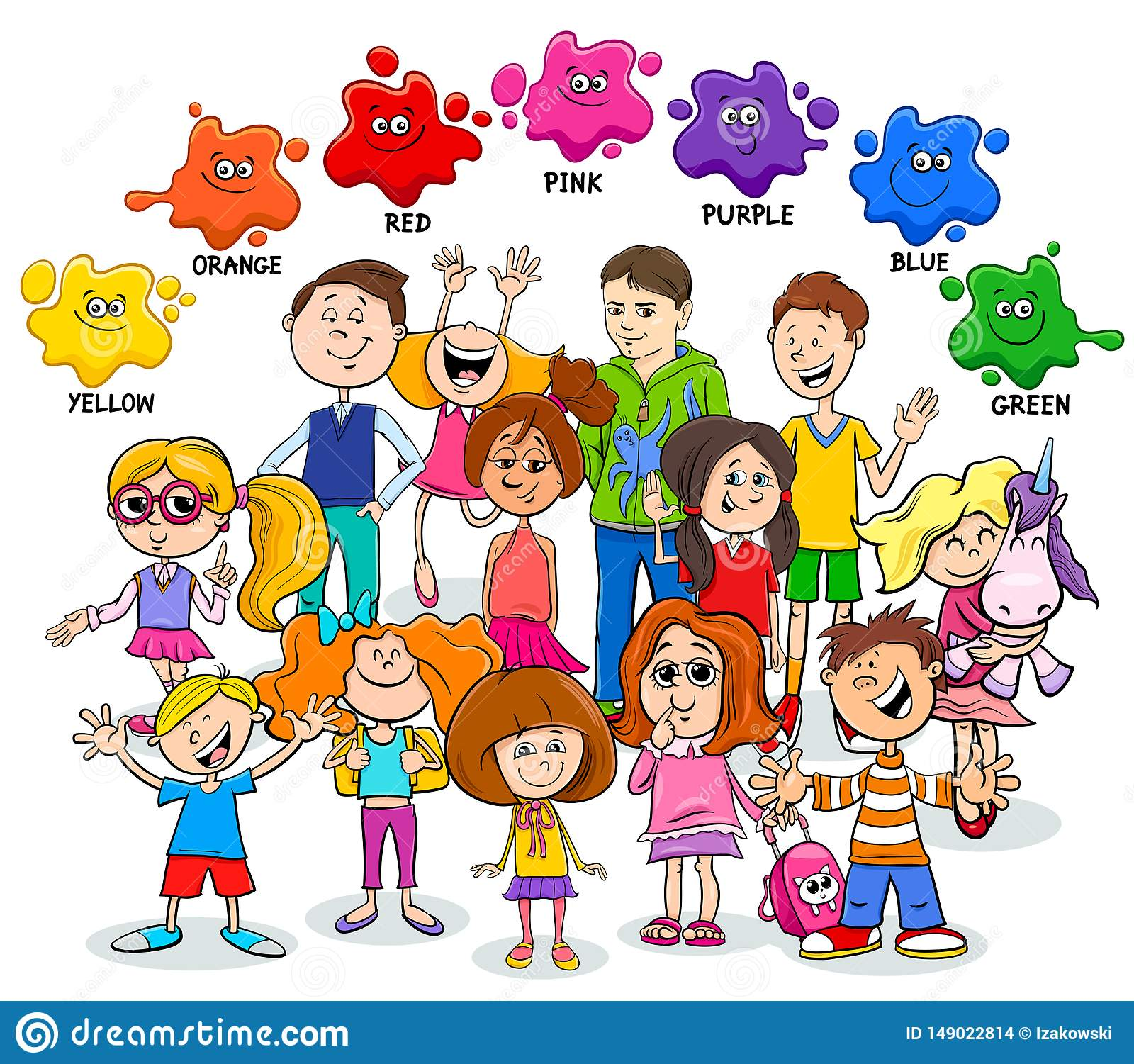 Basic Colors Educational Worksheet With Children Stock