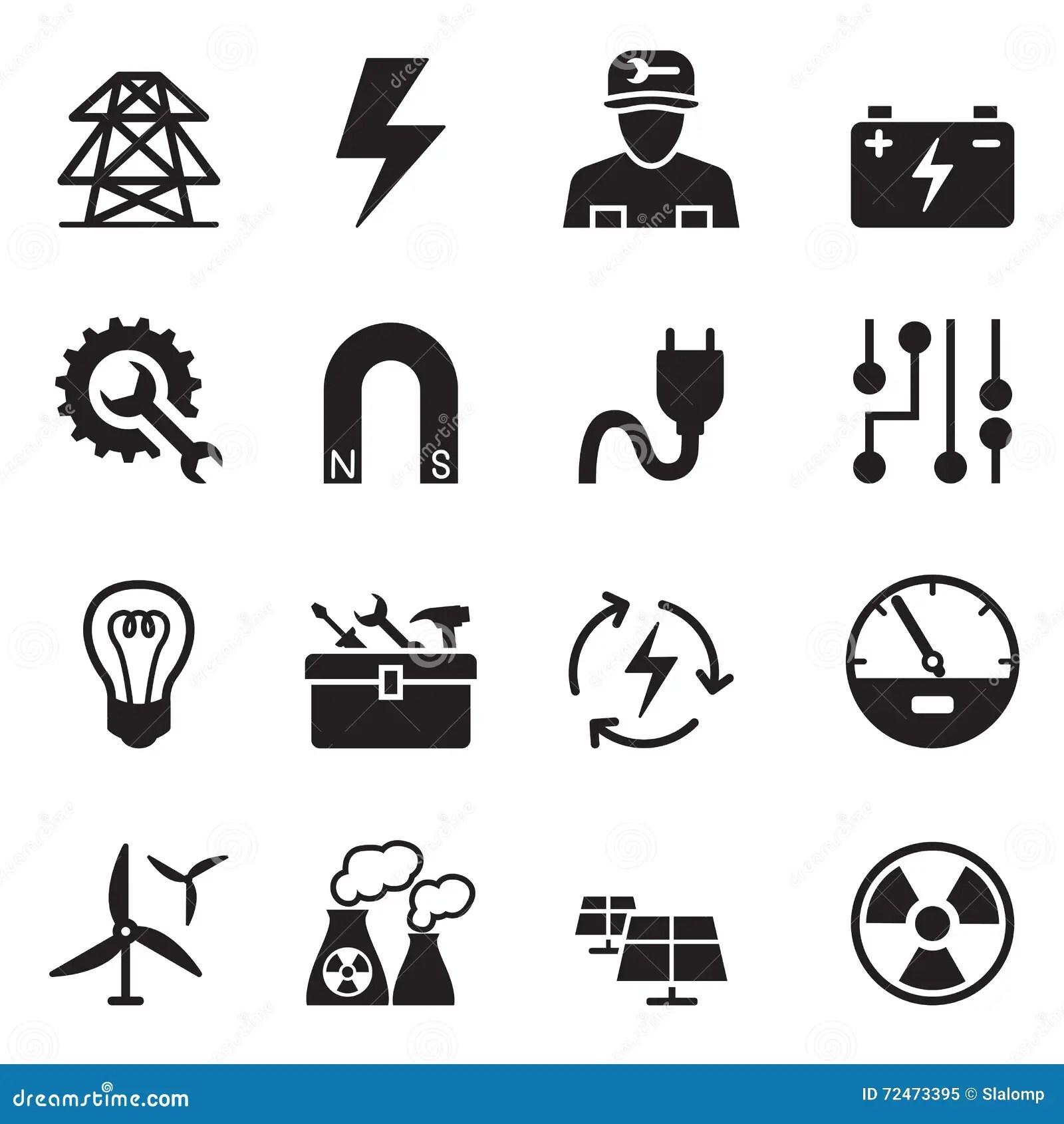Electrical Repair Electrician Symbol Icons Set Vector