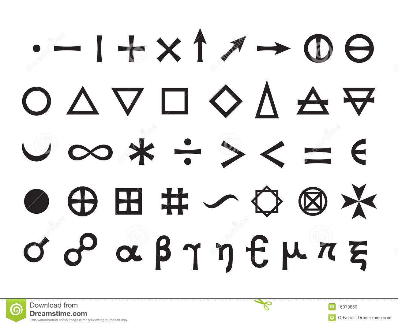 Basic Elements And Mathematical Symbols Stock Photo